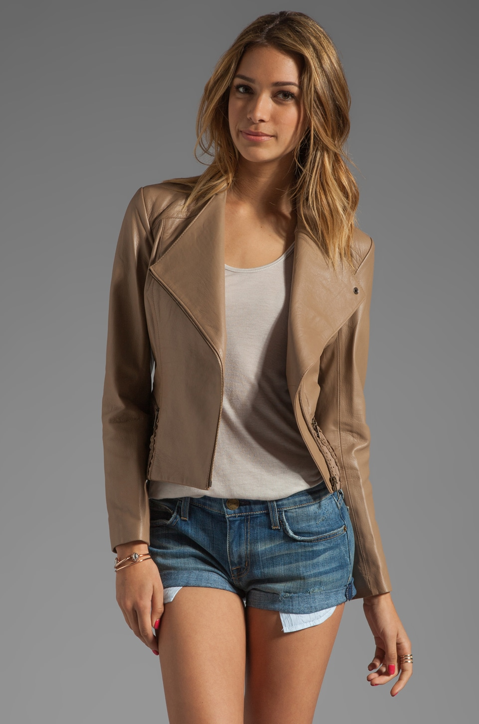 Alice by Temperley Valois Leather Jacket in Taupe