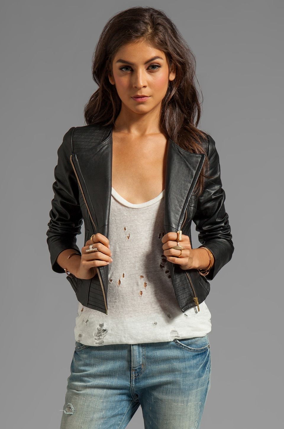 Alice by Temperley Tatami Leather Jacket in Black
