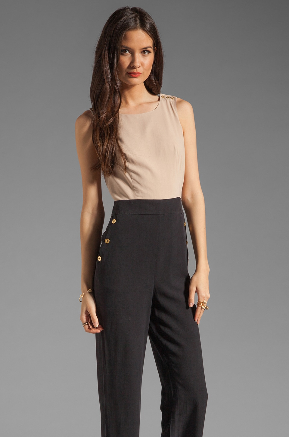 Alice by Temperley Long Elda Jumpsuit in Nude/Black