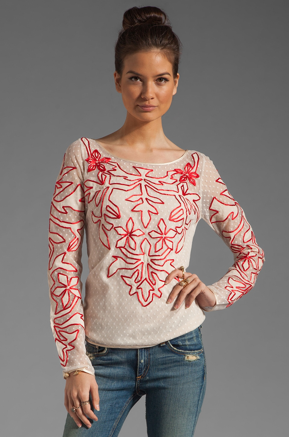 Alice by Temperley Floria Top in Red Mix