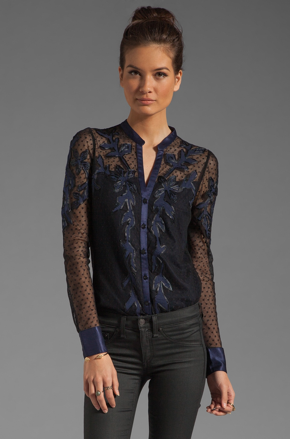 Alice by Temperley Long Floria Shirt in Navy Mix