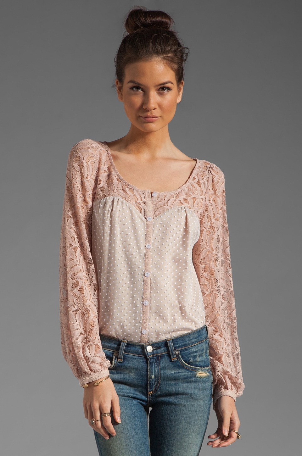 Alice by Temperley Lilianna Blouse in Nude Mix