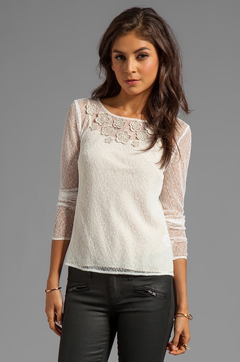 Alice by Temperley Kimi Sleeved Top in Stone