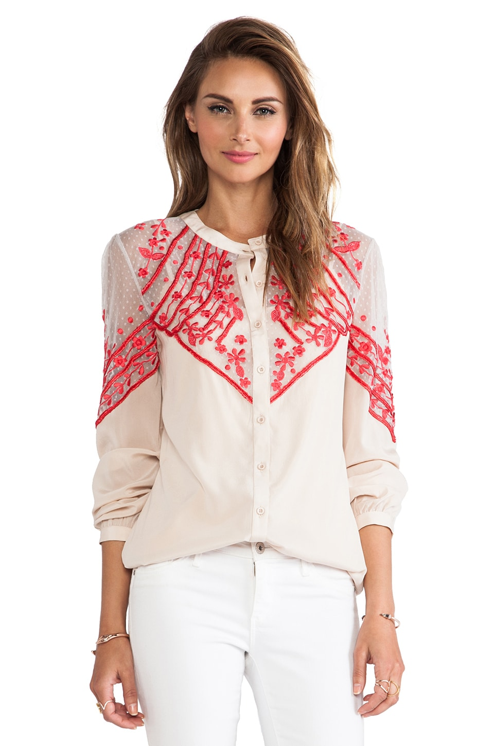 Alice by Temperley Ezra Blouse in Oyster Mix