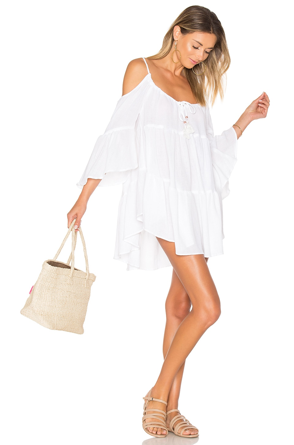 ale by alessandra Say Oui Cold Shoulder Dress in White