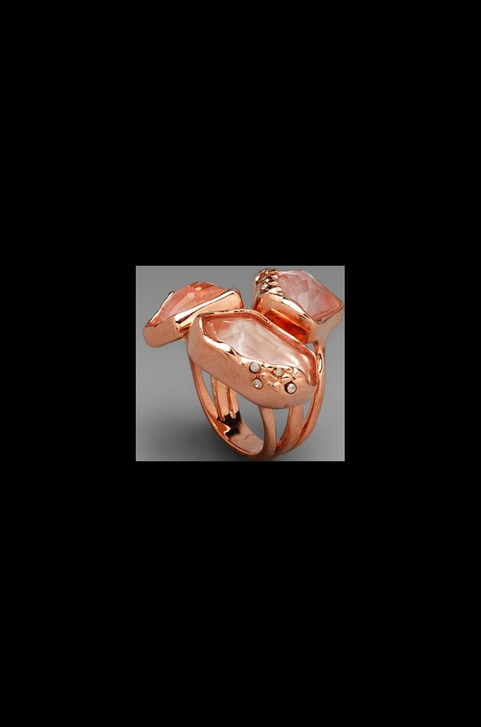 Alexis Bittar Liquid Gold Synthetic Peach Morganite Doublet Molten Stacked Ring