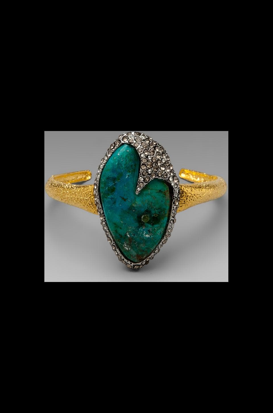 Alexis Bittar Cordova Gold & Antique Rhodium Single Chrysocolla Cuff