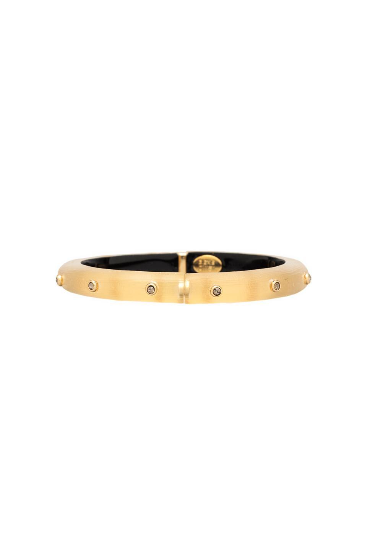 Alexis Bittar Bohemian Crystal Rivet Hinge Bracelet in Gold