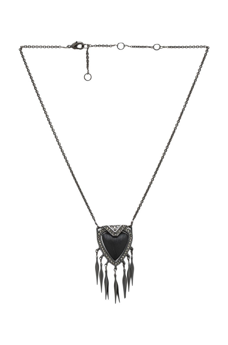 Alexis Bittar Santa Fe Deco Pendant Necklace in Black