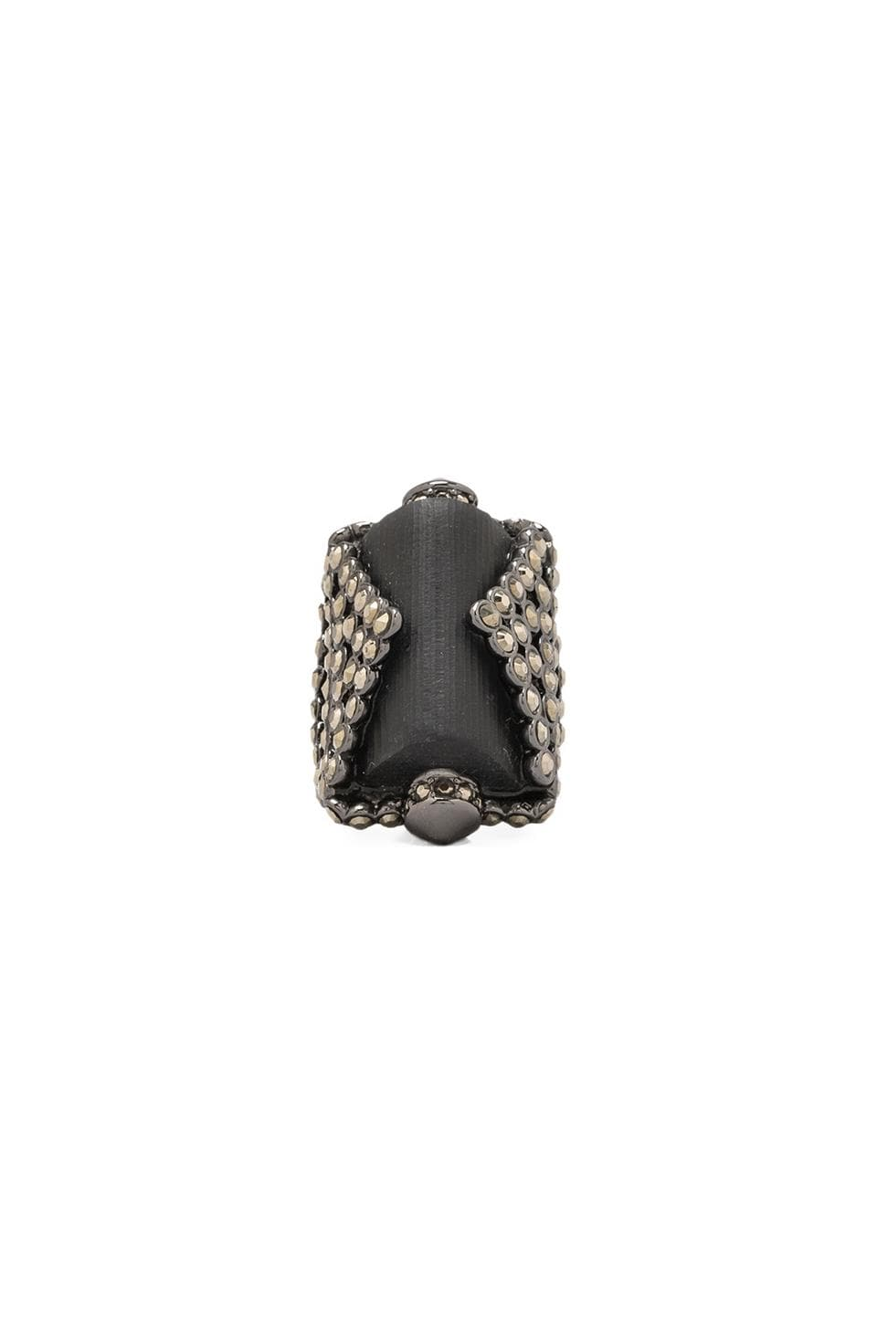 Alexis Bittar Santa Fe Deco Rectangular Prism Ring in Black
