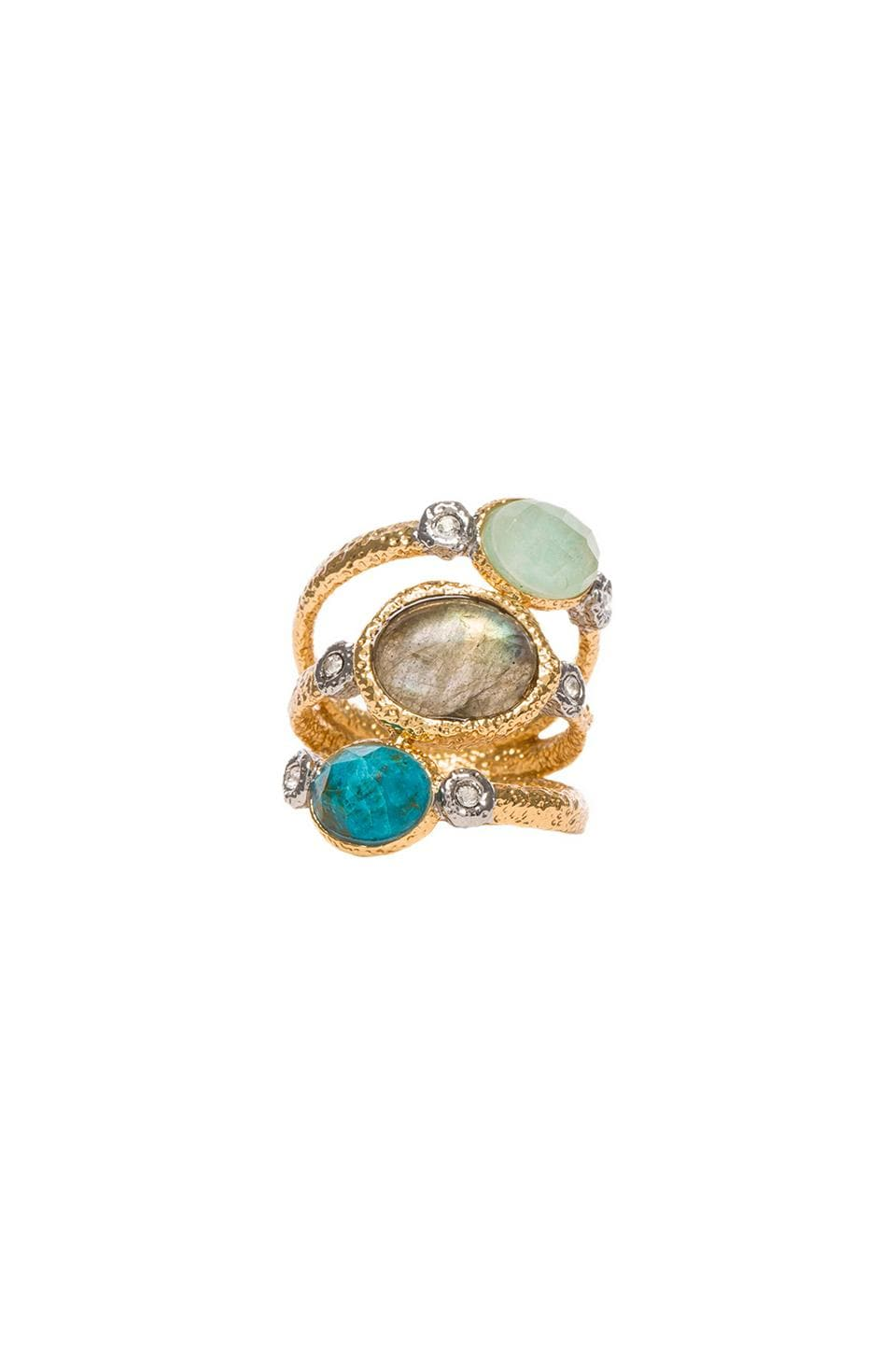 Alexis Bittar Crystal Studded Stacking Ring in Gold