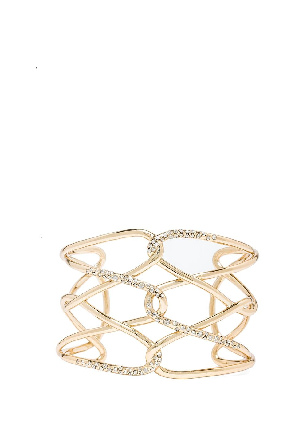 Alexis Bittar Liquid Barbed Cuff w/ Pave Crystals in Gold