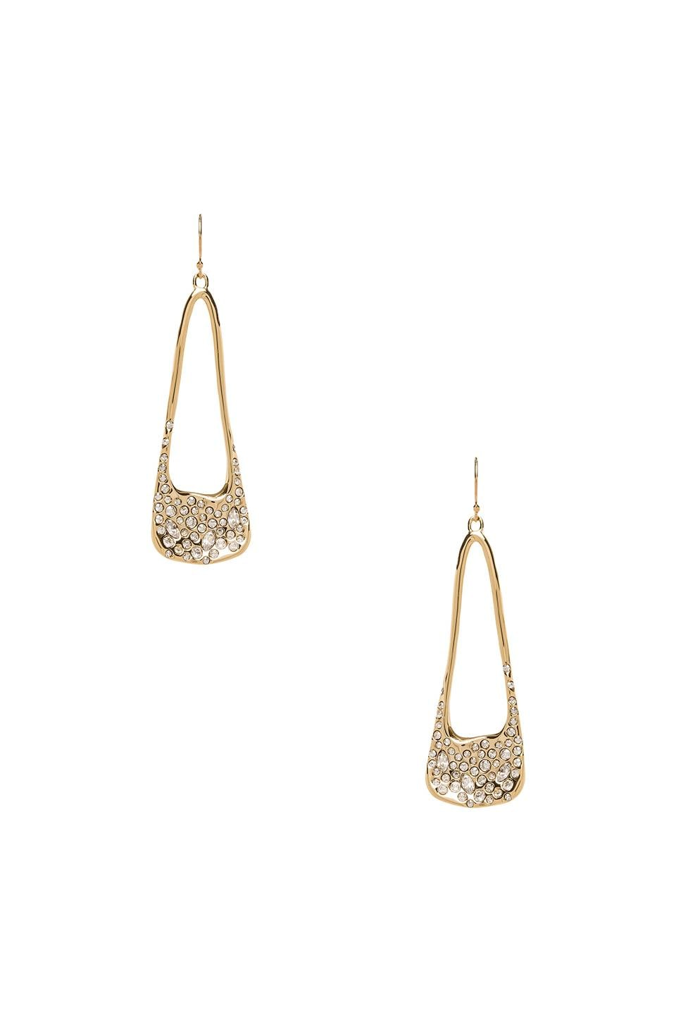 Alexis Bittar Liquid Crystal Encrusted Elongated Tear Earring in Gold