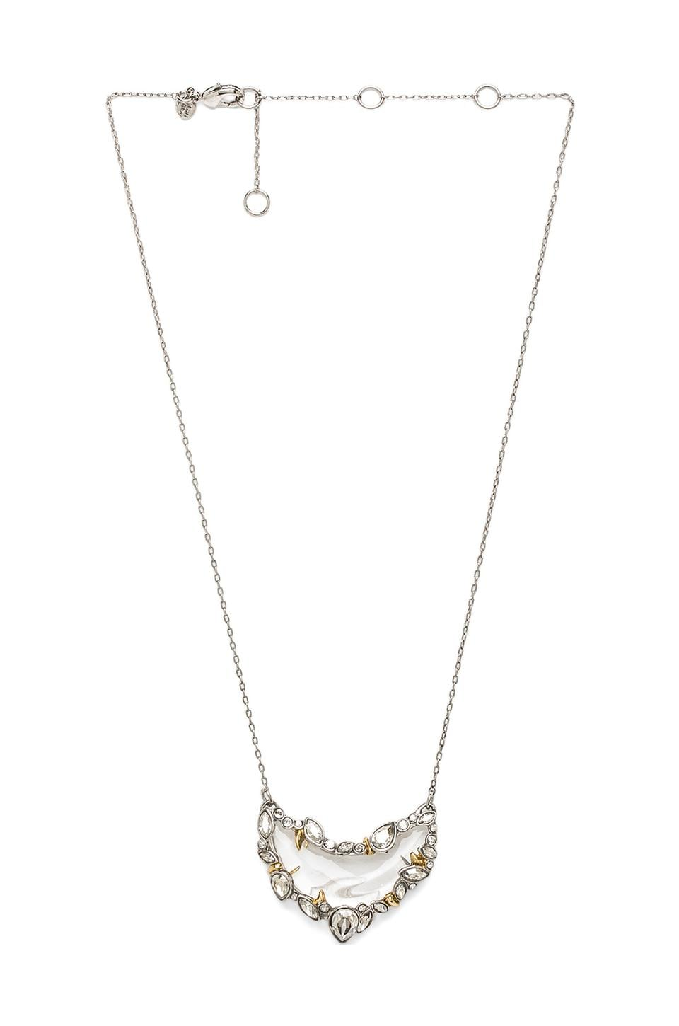 Alexis Bittar Jardin Mystere Jagged Edged Crescent Pendant Necklace in Rhodium & Lucite
