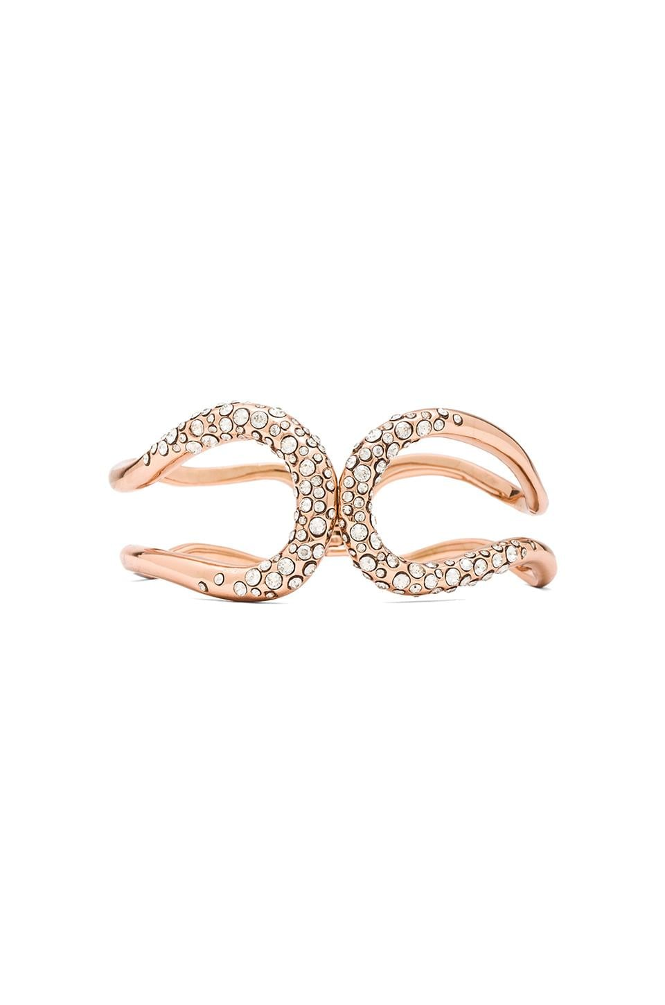 Alexis Bittar Crystal Encrusted Hinge Bracelet in Rose Gold