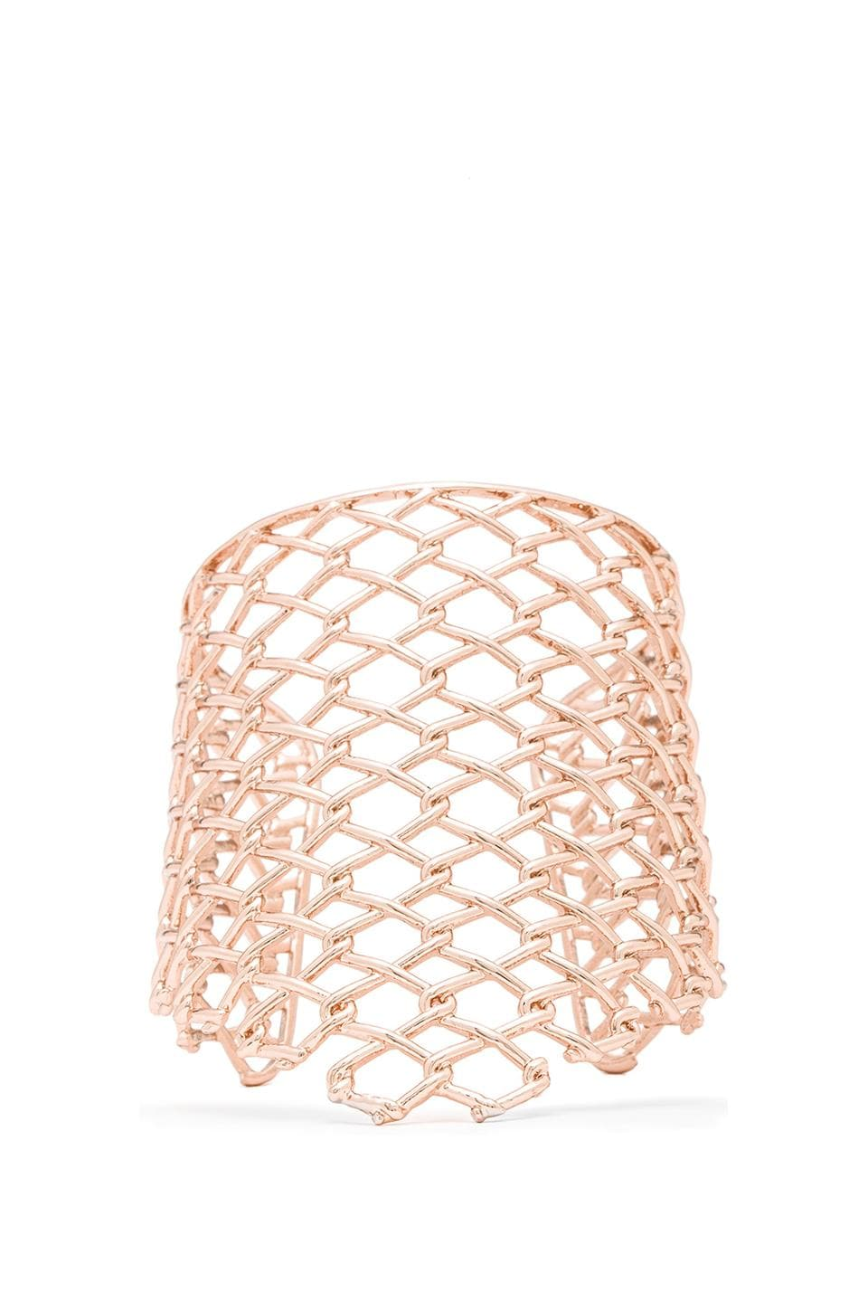 Alexis Bittar Tall Asymmetrical Barbed Link Cuff in Rose Gold