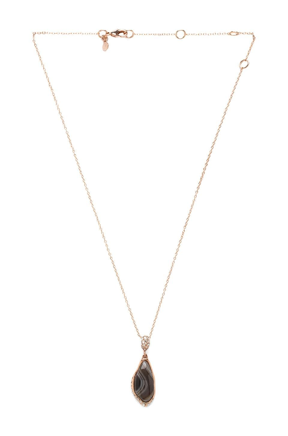 Alexis Bittar Custom Cut Black Banded Agate Drop Pendant in Rose Gold