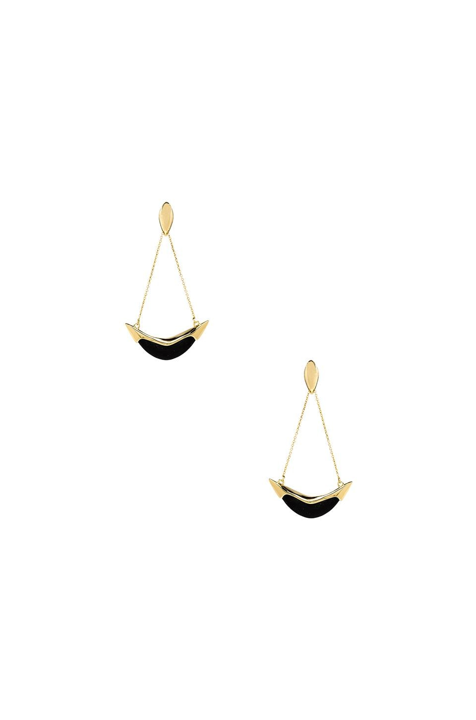Alexis Bittar Large Liquid Metal Capped Crescent Earring in Black & Gold