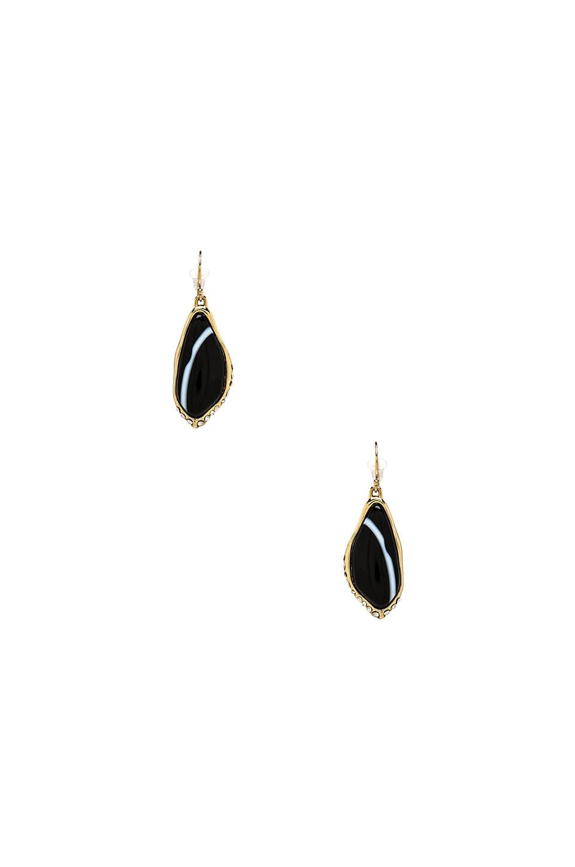 Alexis Bittar Custom Cut Black Banded Agate Drop Earring in Gold