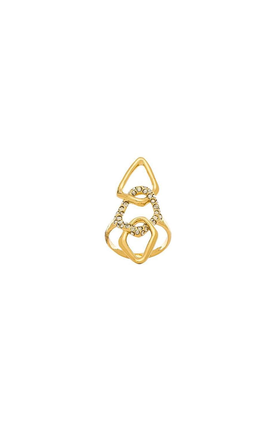 Alexis Bittar Encrusted Link Ring in Gold