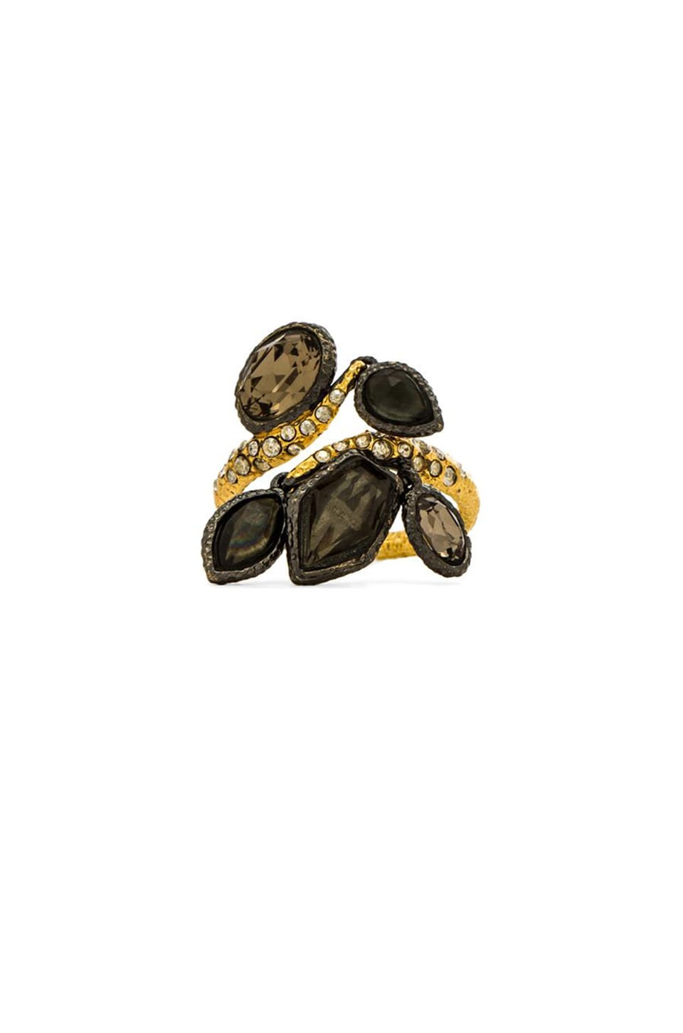 Alexis Bittar Multi Stone Charm Ring in Ruthenium & Gold