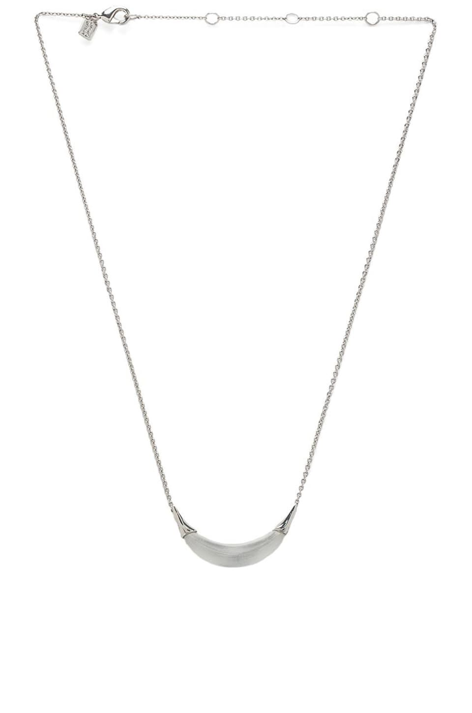 Alexis Bittar Capped Crescent Pendant Necklace in Silver