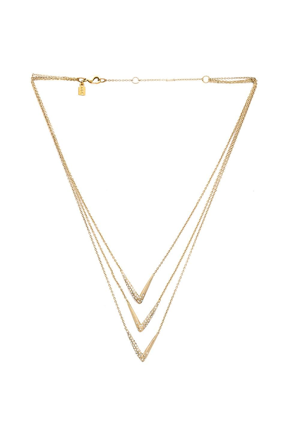 Alexis Bittar Encrusted Chevron Necklace in Gold