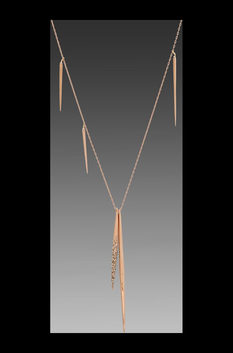 Alexis Bittar Crystal Encrusted Rose Gold Long Spear Necklace