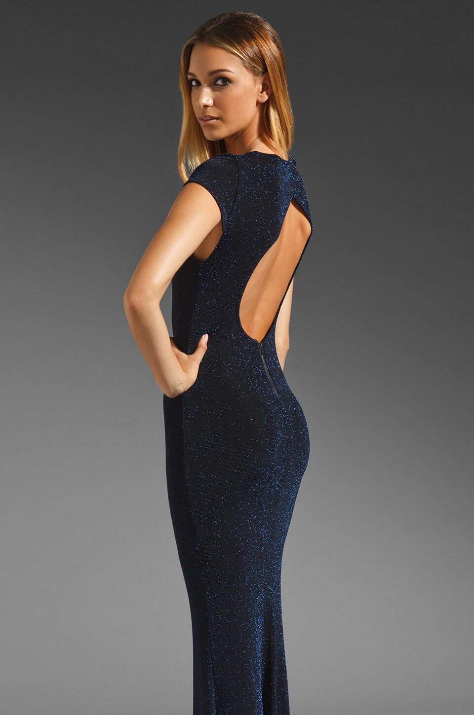 Alice + Olivia Lanie Open Back Maxi Dress in Black/Blue