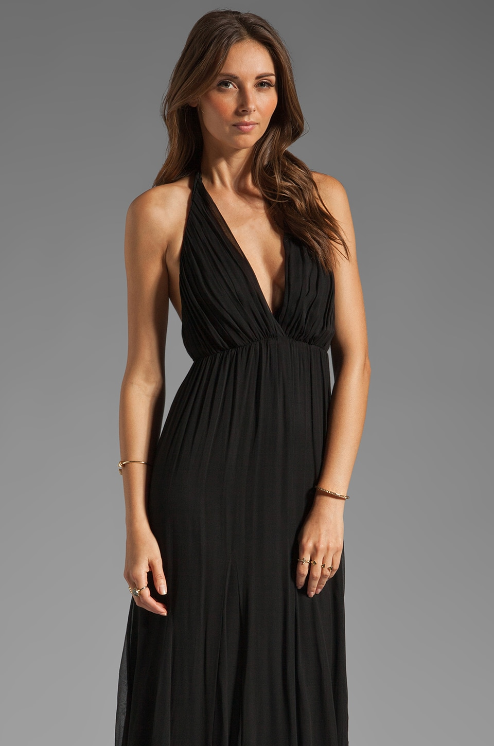 Alice + Olivia Alberta Long Halter Dress in Black