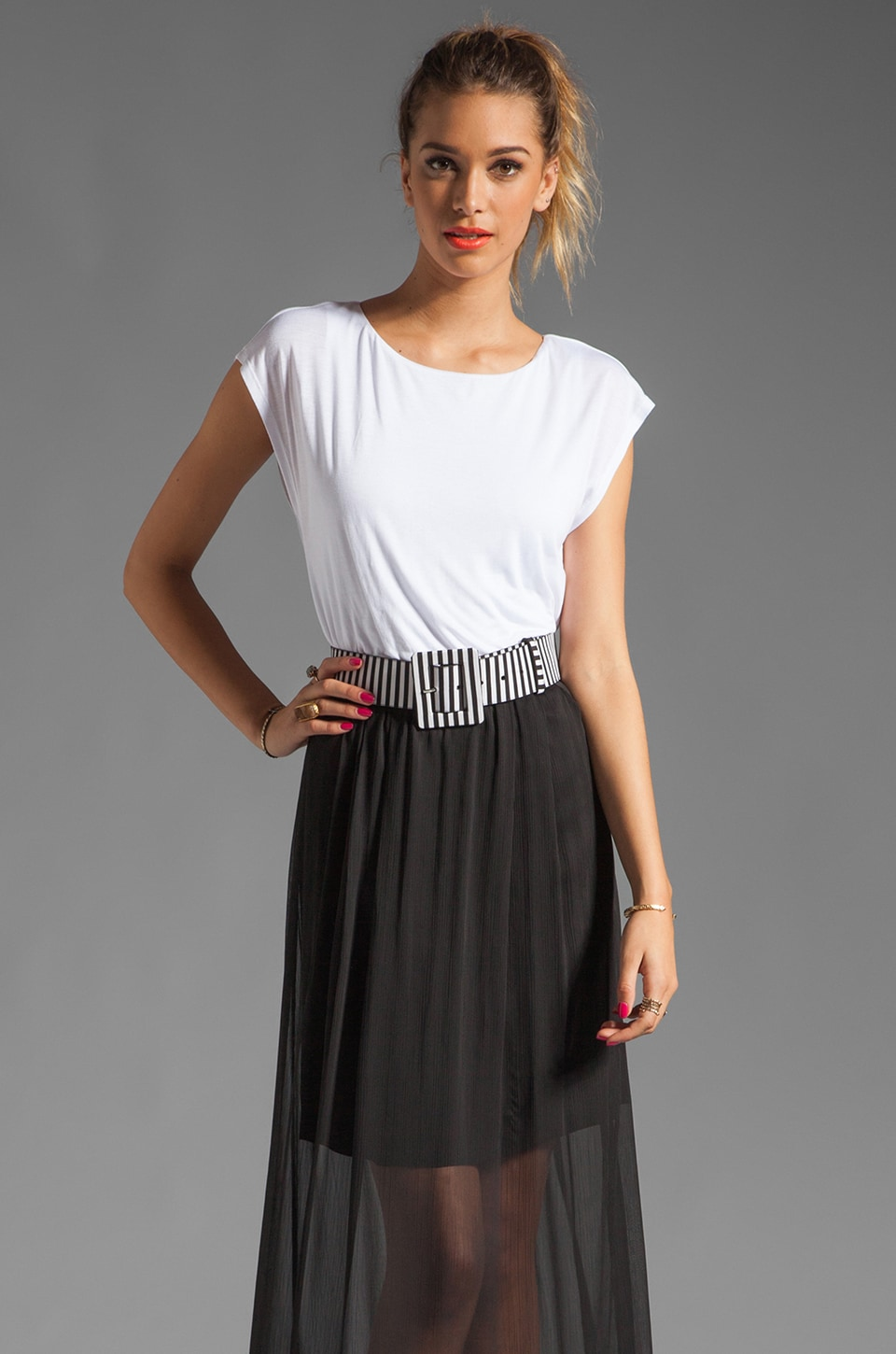 Alice + Olivia Kirean Dolman Dress with Belt in White/Black