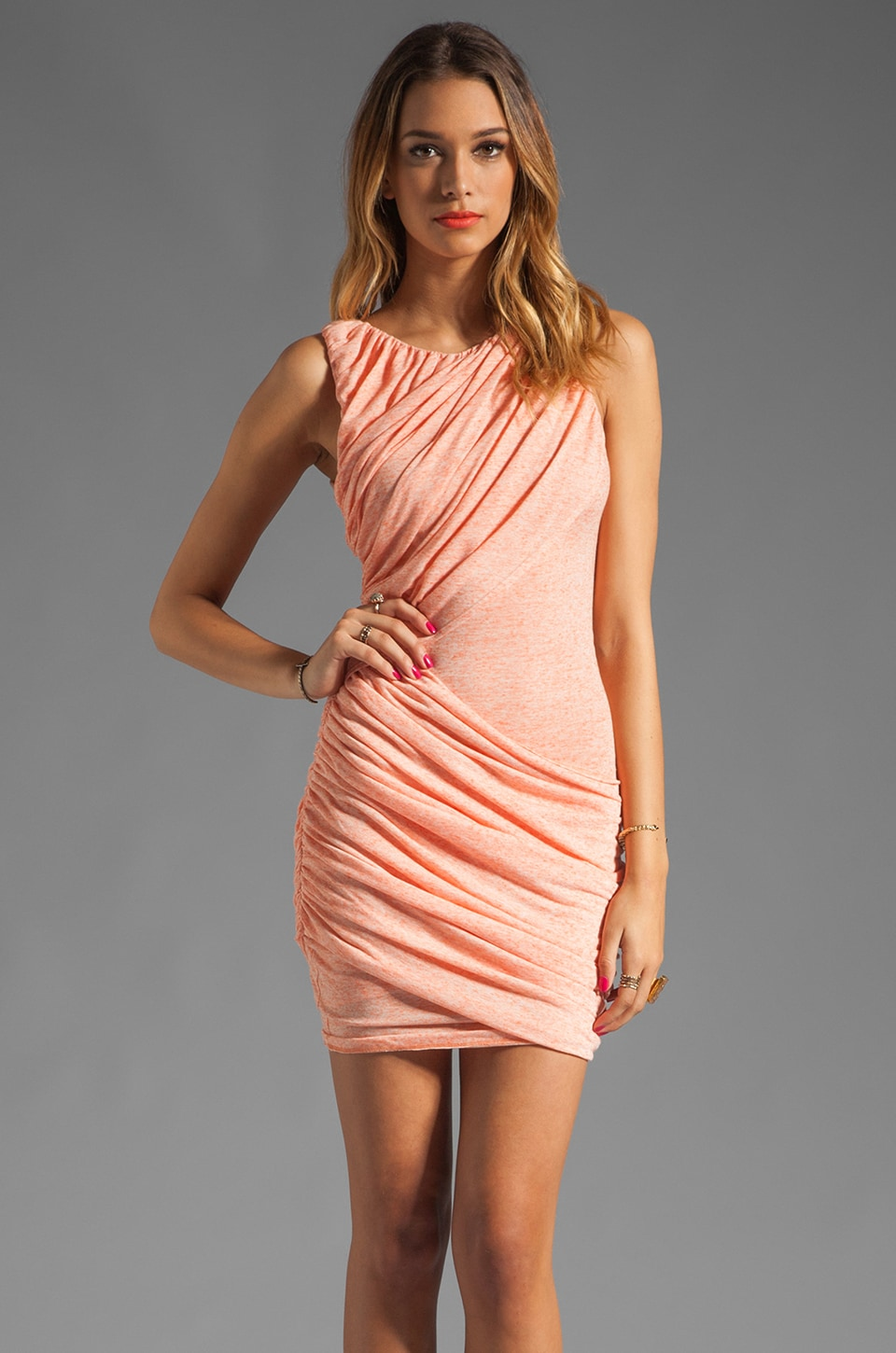 Alice + Olivia Drape Goddess Dress in Orange/White