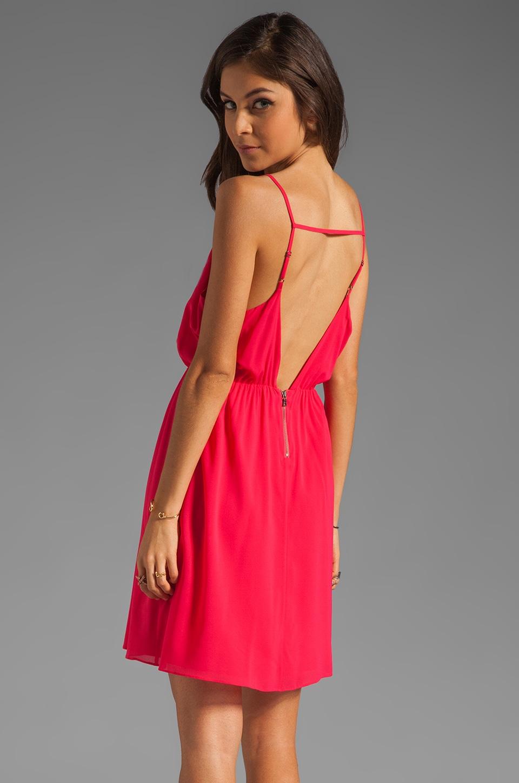 Alice + Olivia Arlen Geometric Back Short Dress in Bright Raspberry