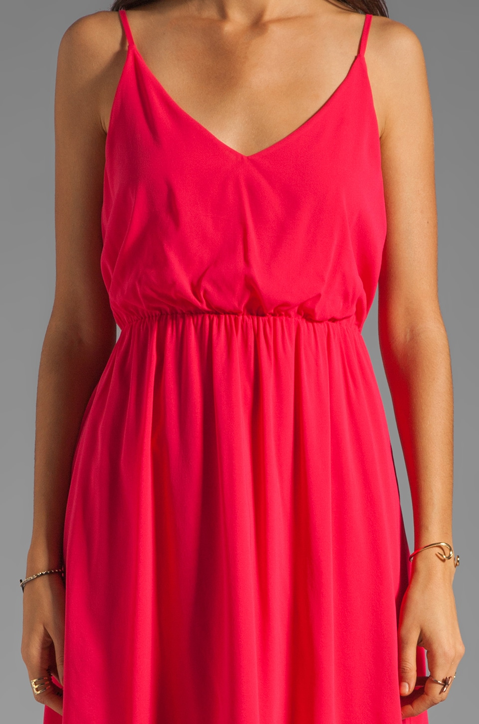 Alice + Olivia Arlen Geometric Back Short Dress in Bright Raspberry