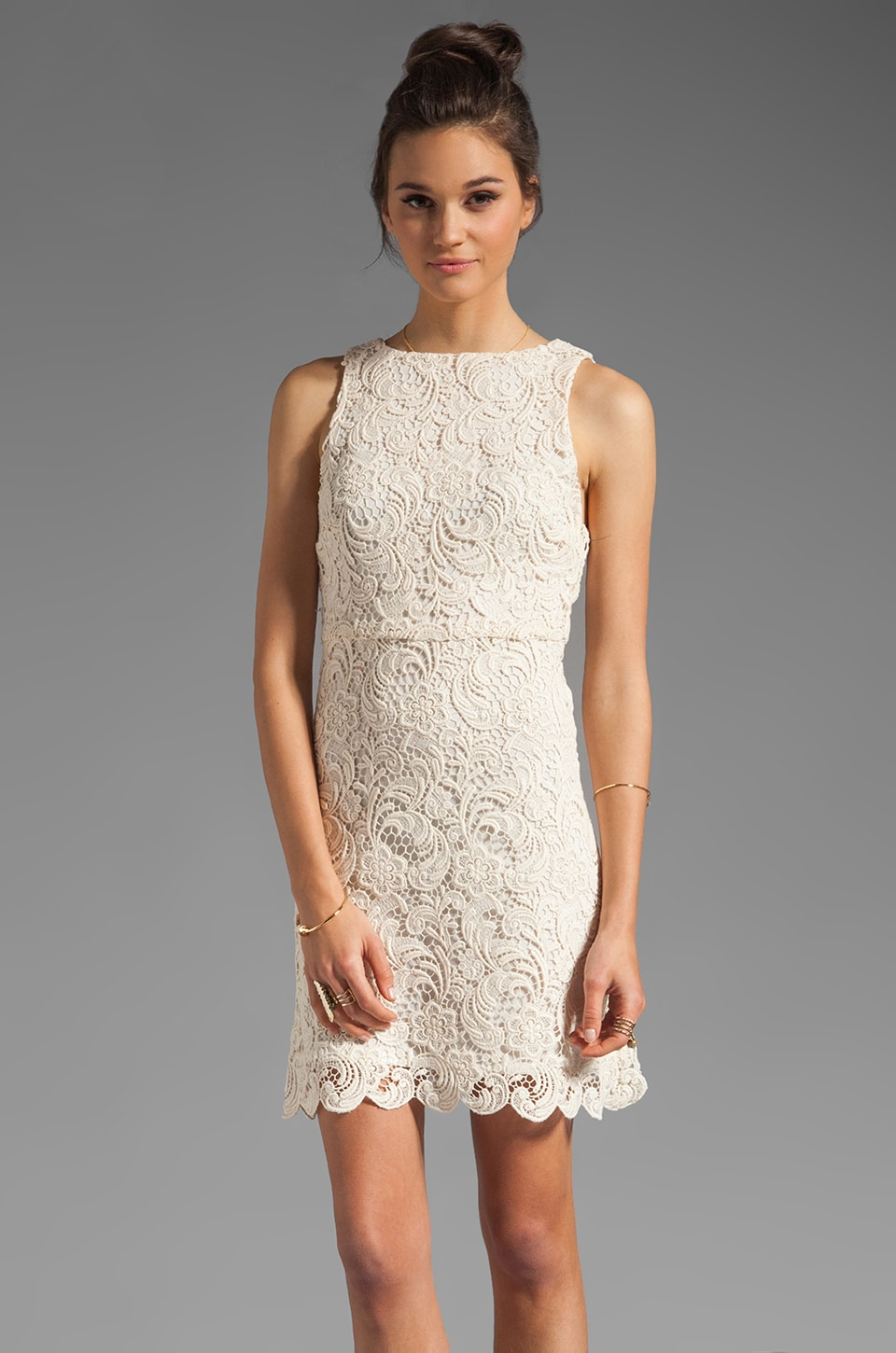Alice + Olivia Ingrid Sleeveless A-Line Dress in Cream