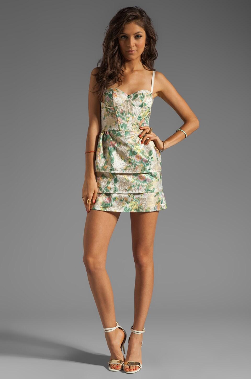 Alice + Olivia Daphine Bra Tank Tiered Skirt Dress in Multi