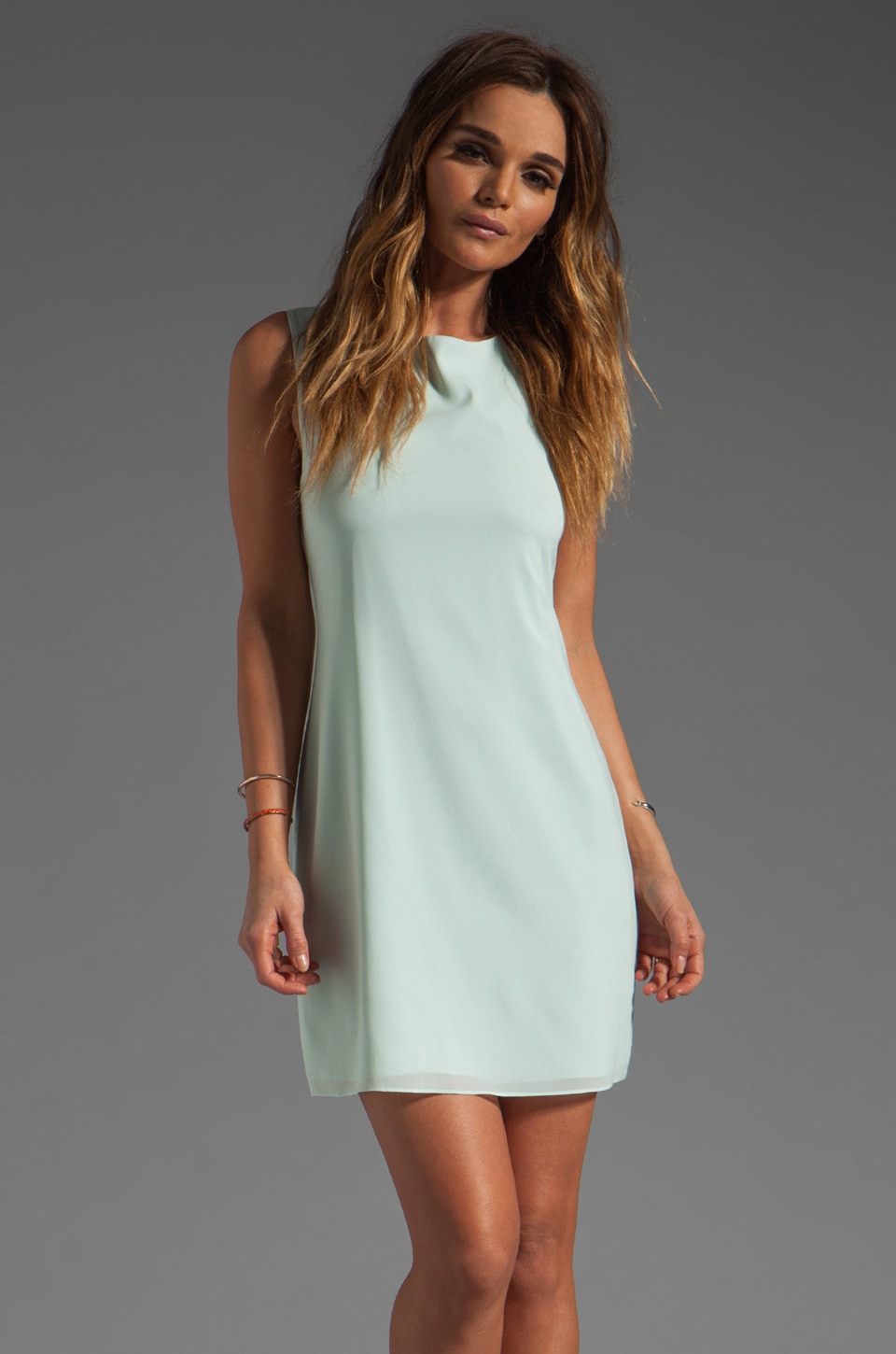 Alice + Olivia Trina Bow Back Tunic Dress in Skylight Aqua