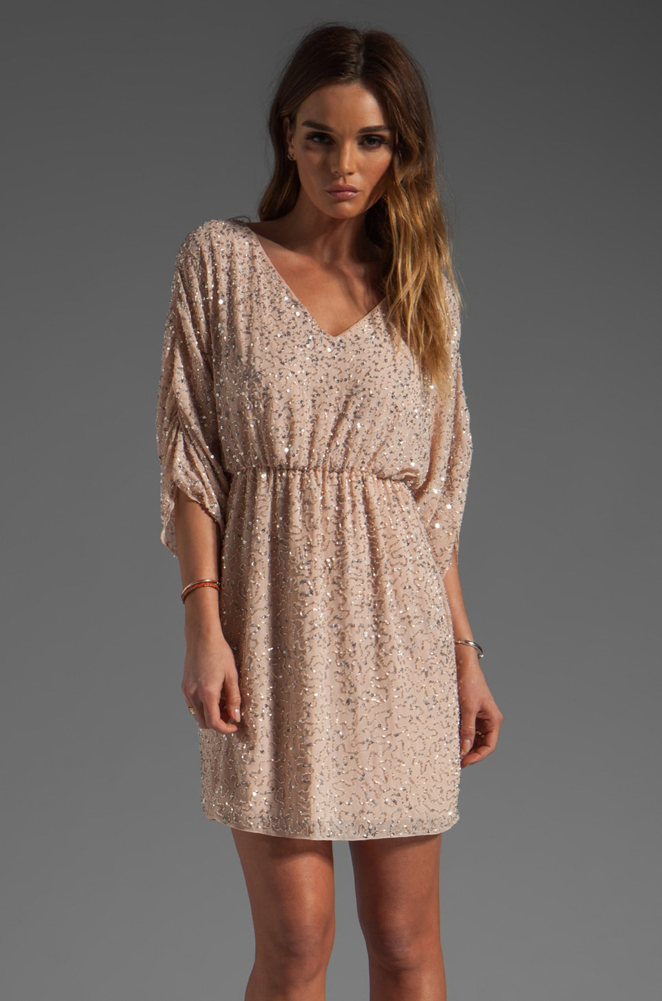 Alice + Olivia Olympia Embellished Tunic Dress in Pale Peach/Silver