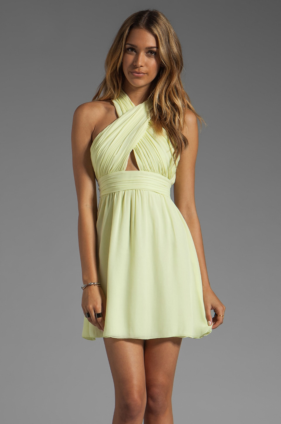Alice + Olivia Martine Wrap Bodice Tulip Skirt Dress in Limon