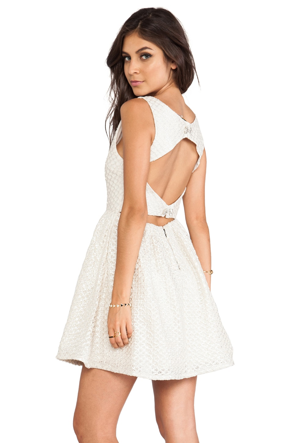 Alice + Olivia Marla Boat Neck Cutout Back Dress in Silver