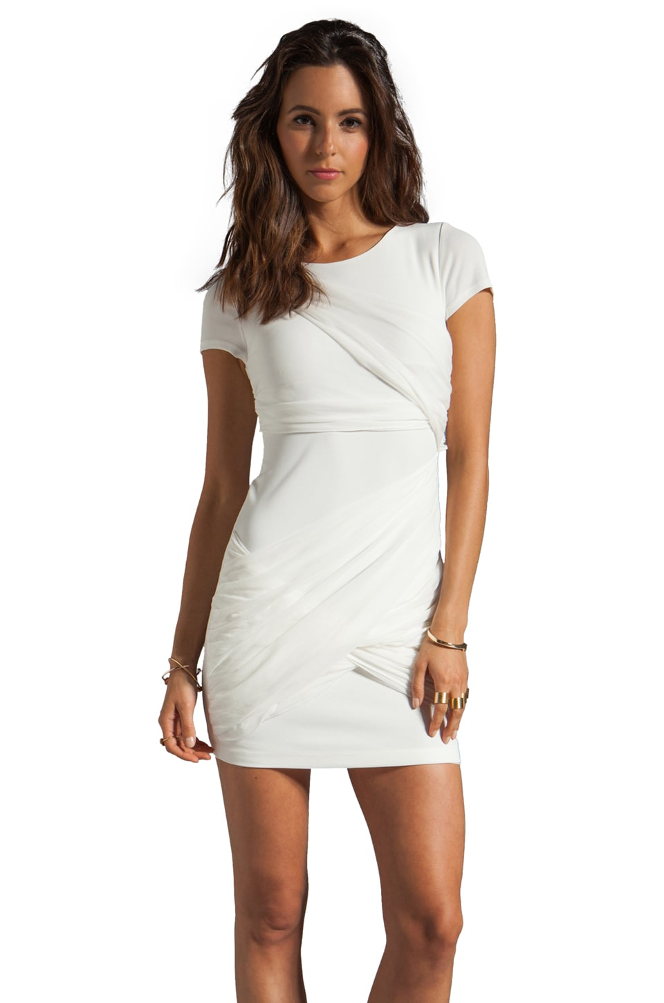 Alice + Olivia Short Sleeve Goddess Dress in Cream