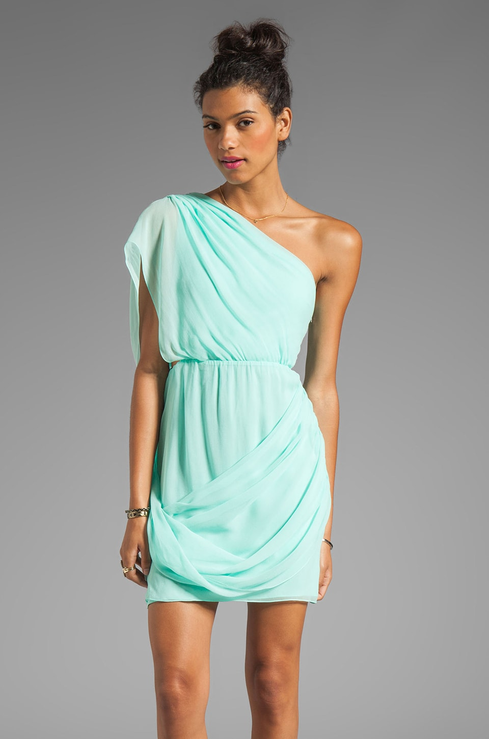 Alice + Olivia Wesson One Shoulder Draped Dress in Aqua Splash