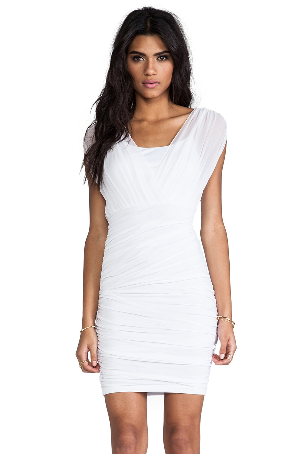 Alice + Olivia Hosea Cross Over Blouson Ruched Dress in White