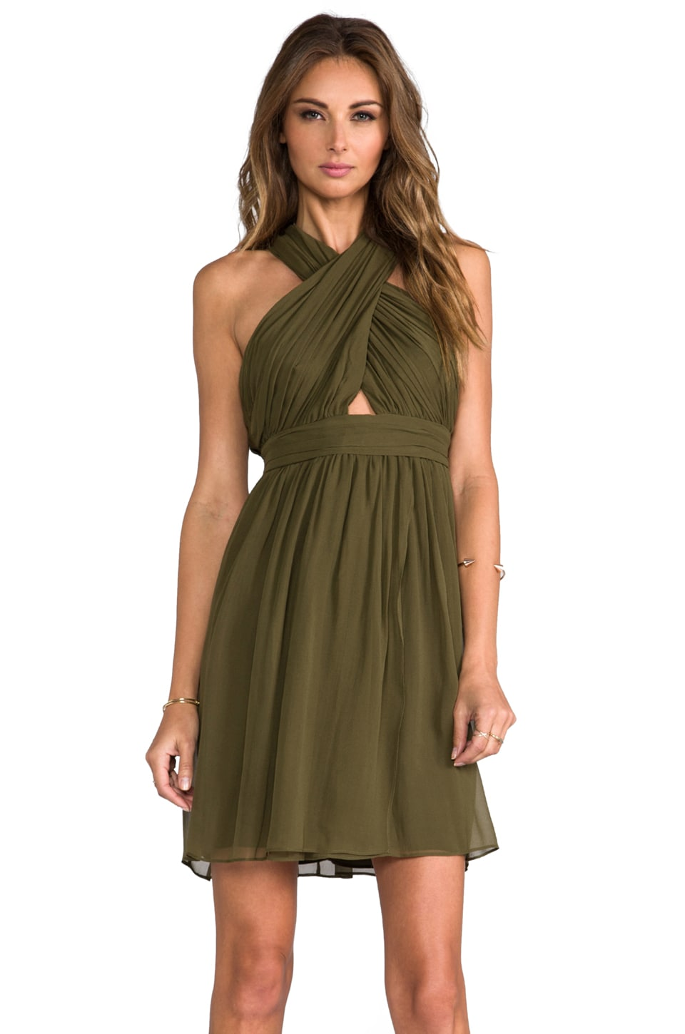 Alice + Olivia Caldwell Wrap Bodice Tulip Dress in Army