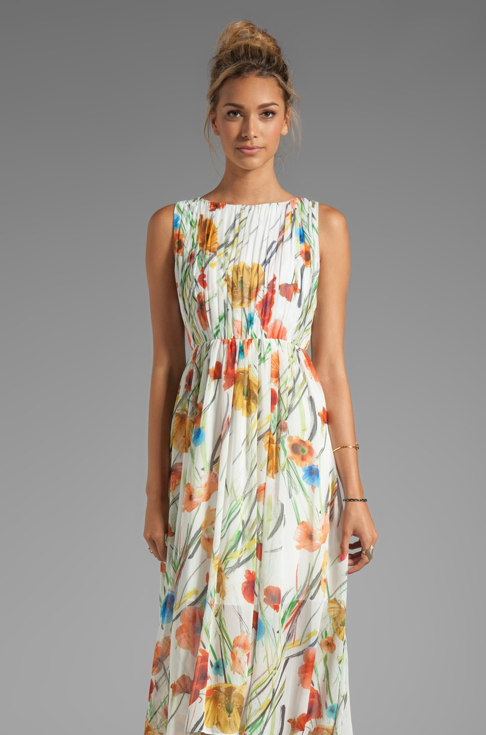 Alice + Olivia Mel Open Back Gathered High-Low Dress in Exotic Poppy