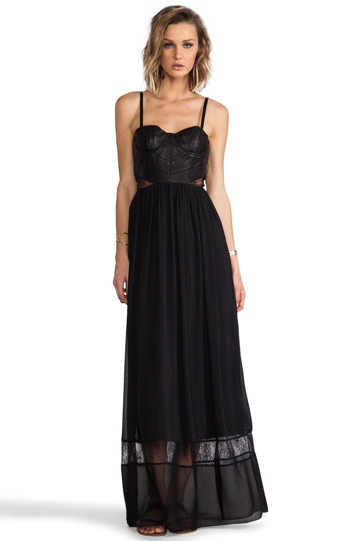 Alice + Olivia Elis Leather Structured Bodice Dress in Black