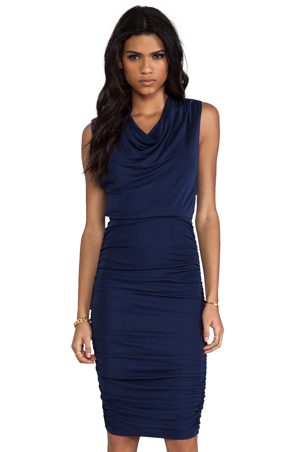 Alice + Olivia Brentan Blouson Ruched Skirt Dress in Navy