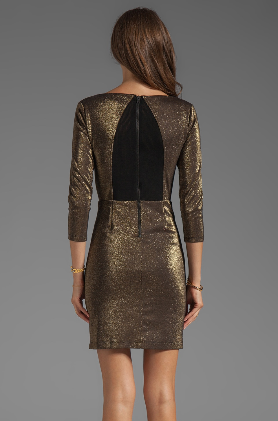 Alice + Olivia Cameo Cutout Back Fitted Dress in Black/Gold