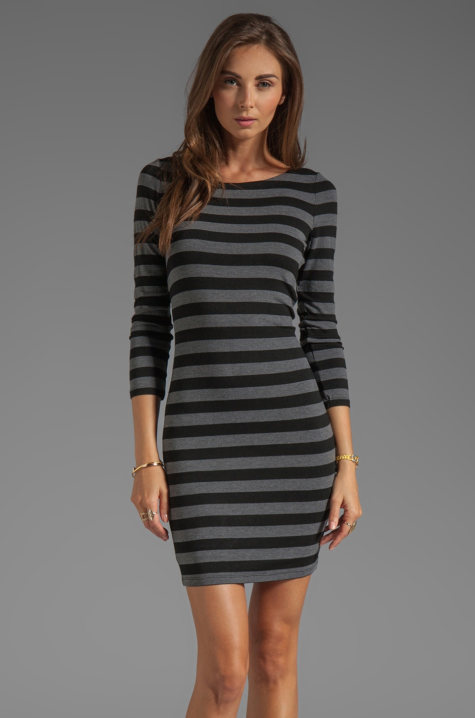 Alice + Olivia Long Sleeve Scoop Neck Dress in Black/Grey