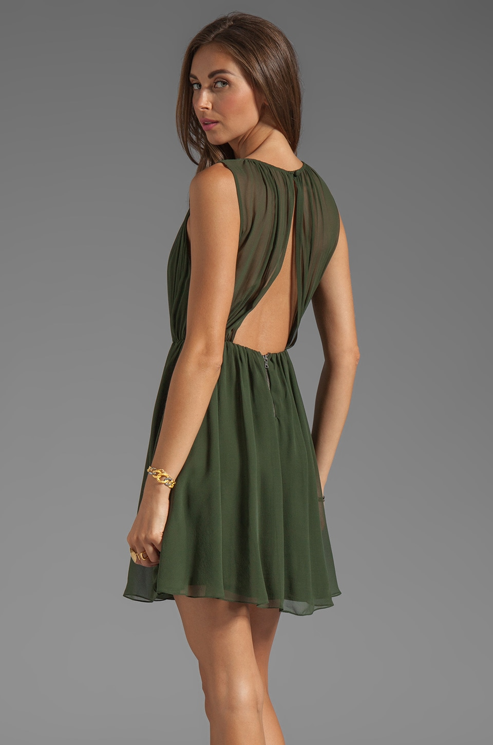 Alice + Olivia Halter Flirt Dress in Army
